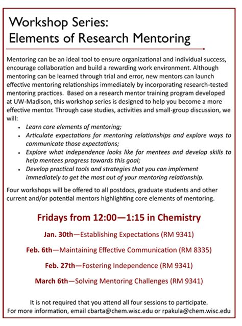 Research Mentor Letter Research Mentoring Workshop Series Establishing Expectations Uw Department Of Chemistry