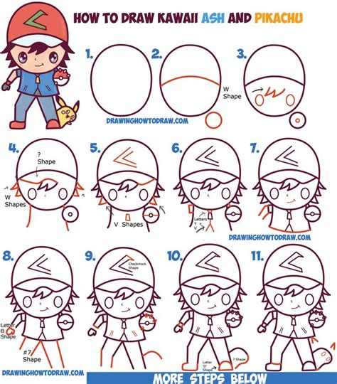 how to draw pikachu s face hellokids com how to draw cute kawaii chibi ash ketchum and pikachu from