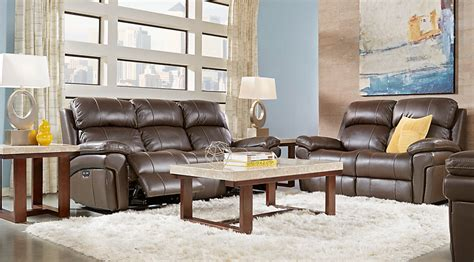 trevino chocolate leather 3 pc living room leather