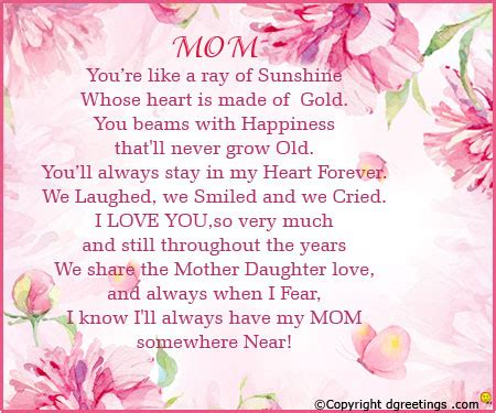 Mothersday Quotes by Happy Mothers Day Poems From Daughter And Son Short