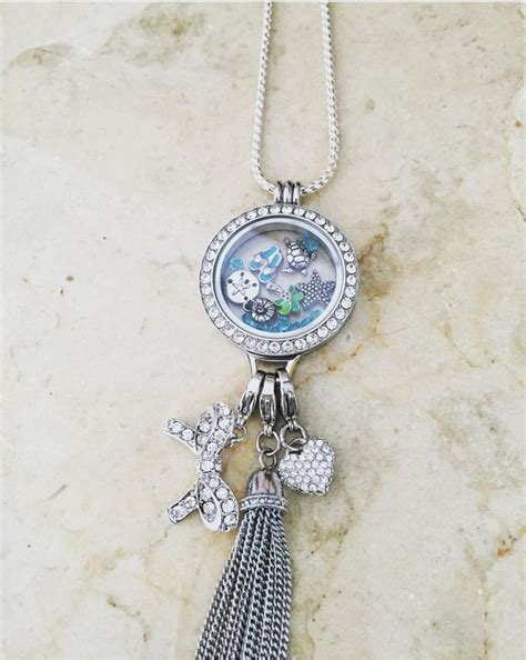 Origami Owl Large Silver Locket With Crystals - origami owl lg living locket w crystals silver dangle