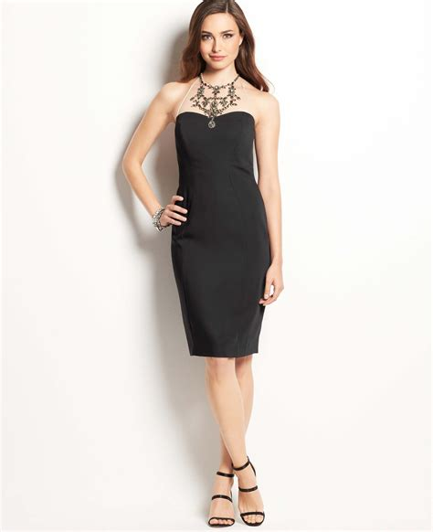 necklace dress jeweled necklace halter dress in black lyst