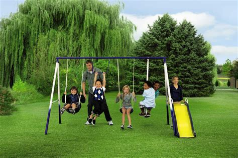park swing set sportspower grove park 4 leg metal swing set shop your