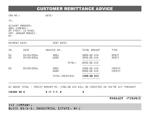 remittance report template customer remittance advice format sles word