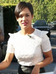 hair style from empire tv show empire s grace gealey shows off her legs in leather mini
