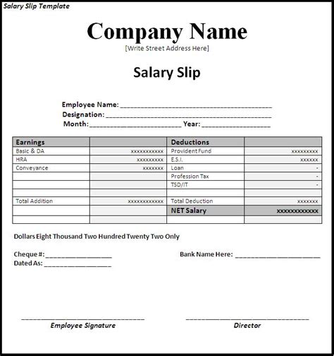 simple salary slip template sle with company name and