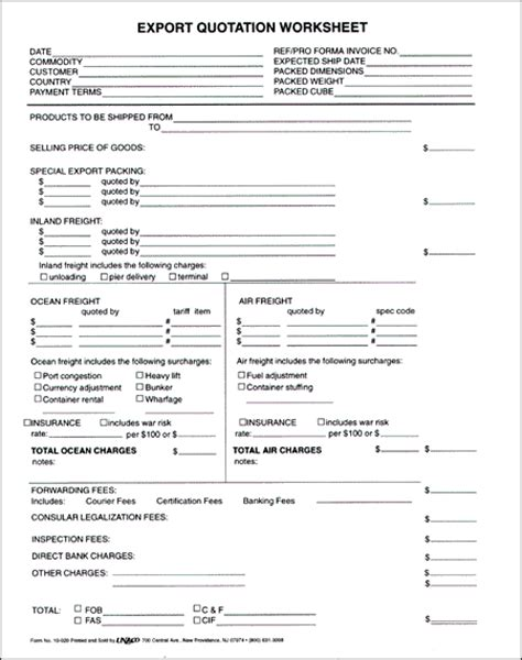 figure 10 export quotation worksheet