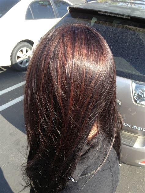 partial red highlights on dark brown hair very dark brown with red highlights hair by barbie de hart