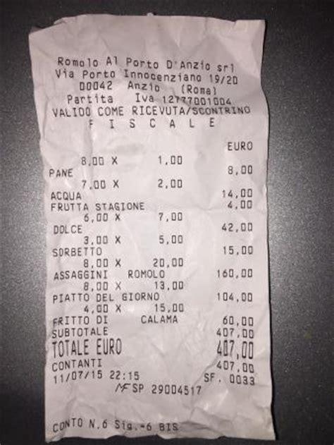 ristorante al porto prezzi il conto per 6 adulti e 2 bambini foto di da romolo al