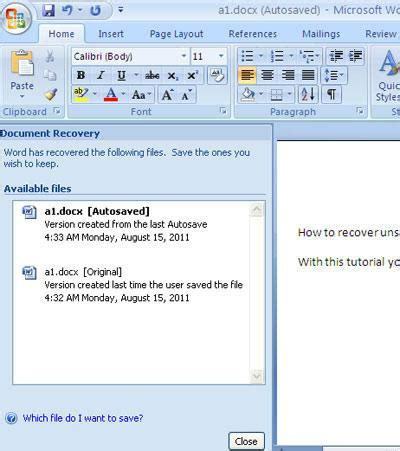Microsoft Word 2013 Recover Unsaved Document