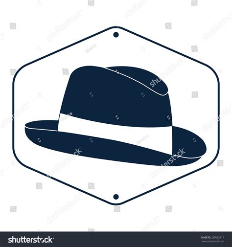 vintage mans fedora hat label isolated stock vector