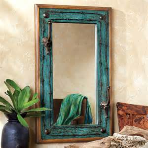 western bathroom mirrors turquoise old ranch mirror with hooks