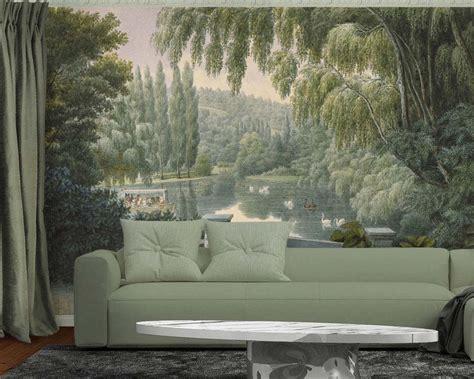 Panoramic Wall Murals scenic wallpaper mural swan lake papiers de paris