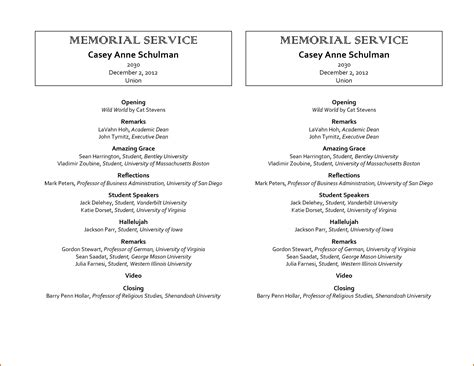 9 Memorial Service Program Template Authorizationletters Org Memorial Service Templates Sles