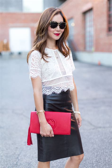 subtle lace crop top and leather skirt stylewich