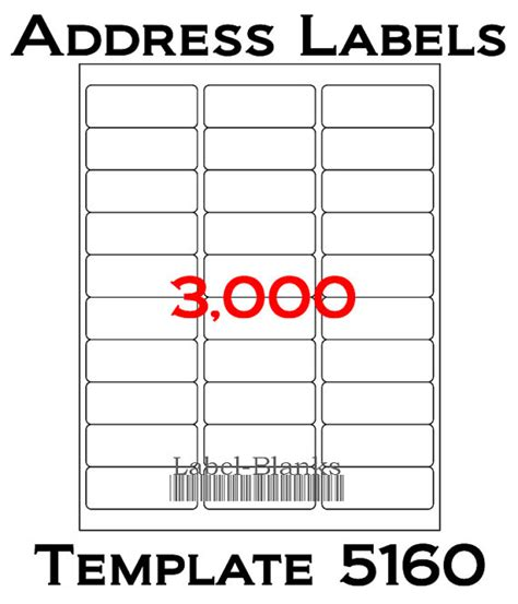 blank avery template 5160 3000 laser ink jet labels 100 sheets 1 quot x 2 5 8