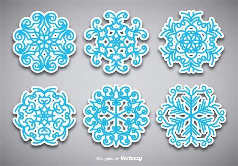 snowflake stickers   vector art stock