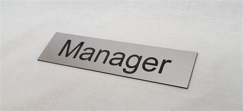 Manager Door Sign by Brushed Steel Acrylic Manager Door Sign Office Sign