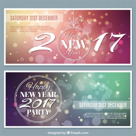 free vector new year banner several new year banners with bokeh effect vector free
