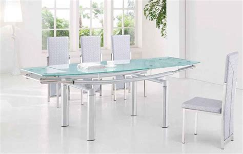 Frosted Glass Dining Room Table by Extendable Frosted Glass Top Leather Dining Furniture Set