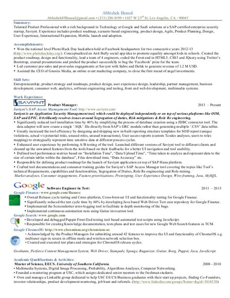 product manager resume exles product manager resume sle experience resumes