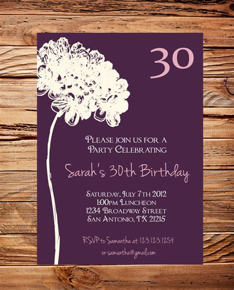 birthday invitations templates for adults 30th birthday invite 40th 50th birthday flower