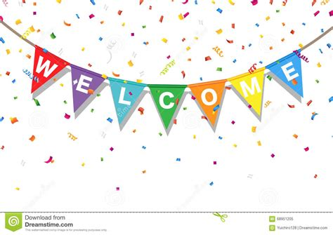 new year bunting vector bunting colorful flags and confetti with letters welcome