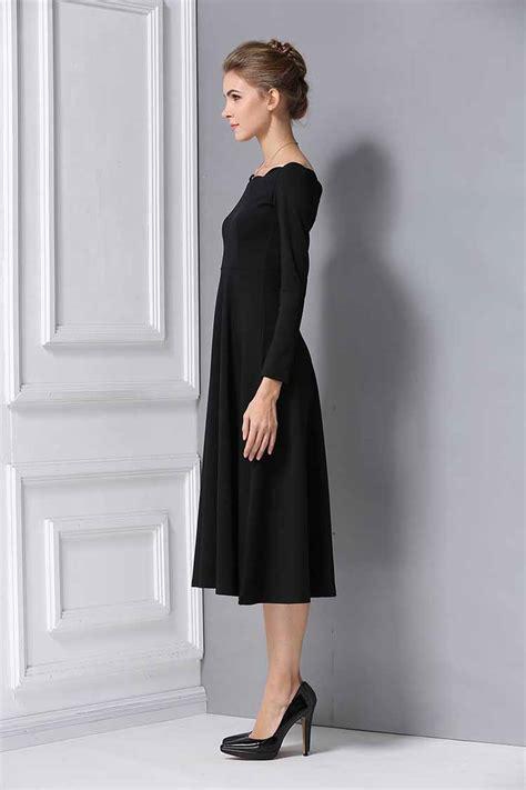 Dress Lengan Panjang dress hitam lengan panjang korea myrosefashion