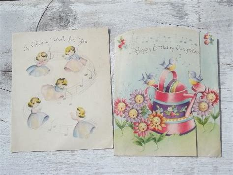 lot 40s 50s vintage birthday greeting cards w great