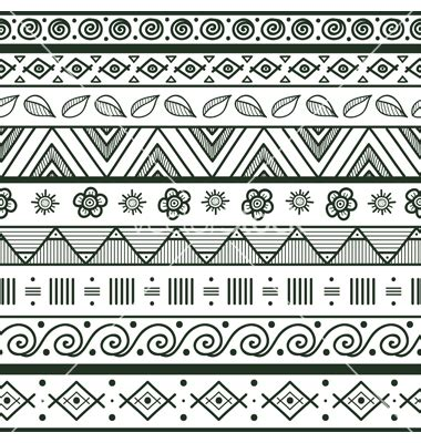 Pattern Drawing Easy | tribal striped hand drawn seamless pattern vector art