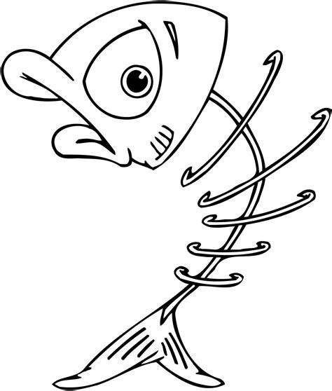 printable cartoon skeleton of a fish bones for kids