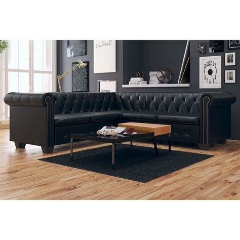 real chesterfield sofa vidaxl chesterfield sofa 5 sitzer kunstleder schwarz real