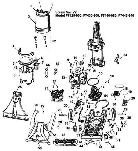 hoover steamvac parts diagram hoover f7425 900 steam vac vacuum cleaner parts