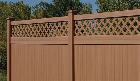 vinyl fence colors bufftech chesterfield certagrain with lattice accent now