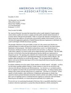 letter to the honorable terry mcauliffe governor of the