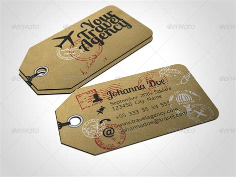 travels visiting card templates travel tag business card template by freshinkstain