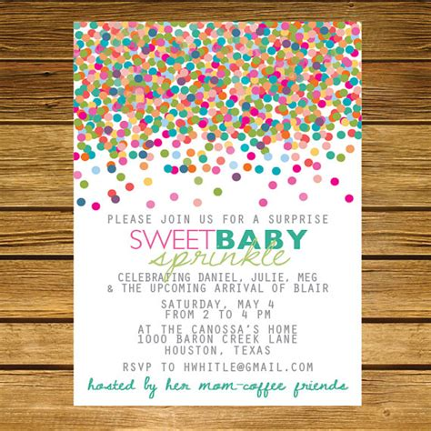 sprinkle second baby shower invitation pink by