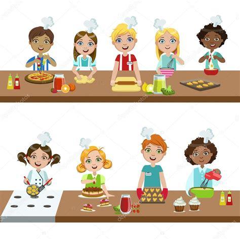 cour de cuisine pour enfant enfants dans les cours de cuisine image vectorielle