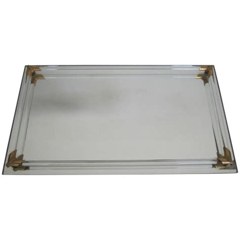 Modern Bathroom Tray Vintage Modern Glass And Brass Vanity Tray For Sale At 1stdibs