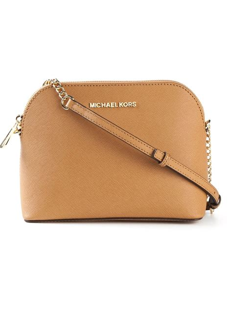 light brown mk purse lyst michael kors cindy large cross body bag in brown