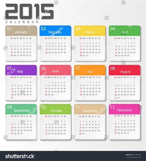 design week calendar 2015 2015 calendar design template week start stock