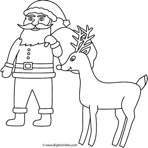 santa coloring pages with rudolph santa claus with rudolph coloring page christmas