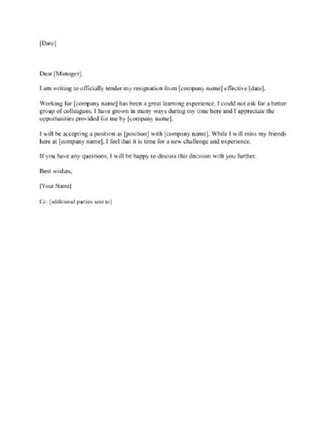 resignation letter letter of resignation 2 weeks notice