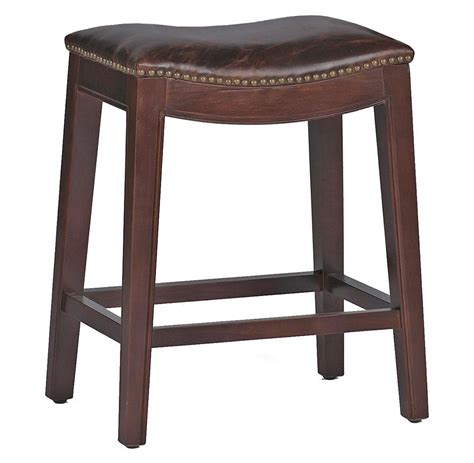 top grain leather bar stools pair frasier rustic lodge curved seat top grain leather