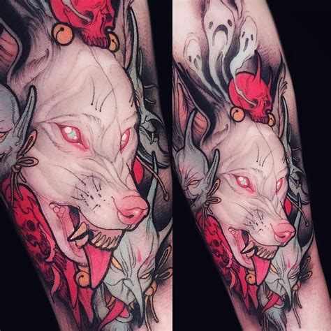animals tattoo with wolf and albino