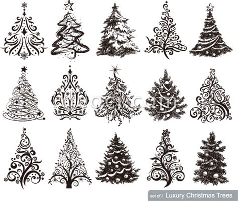 pattern design tree 15 vector luxury christmas tree pattern design template