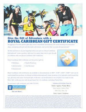 Royal Caribbean Gift Cards - royal caribbean gift certificate template lamoureph blog
