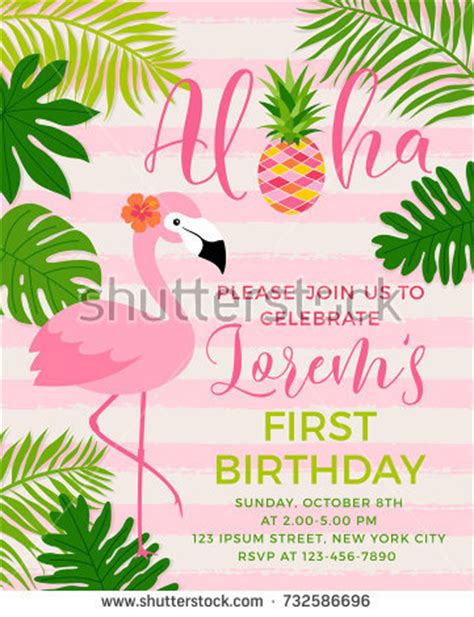 Aloha Stock Images Royalty Free Images Vectors Shutterstock Flamingo Invitation Template Free