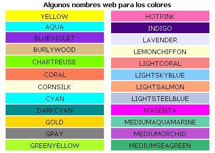 imagenes de colores en ingles y español colores disponibles para la web