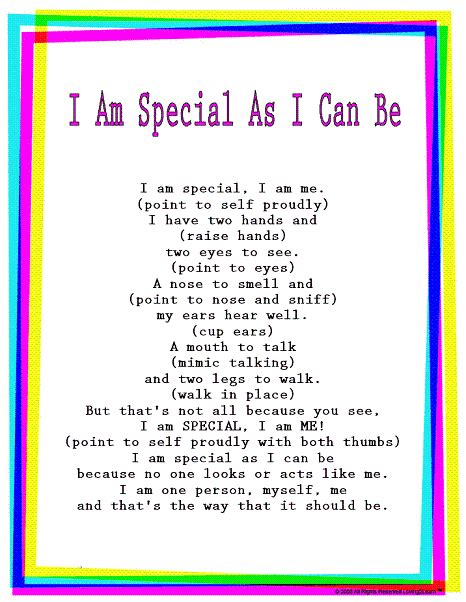 special song rhymes songs quot i am special as i can be quot read
